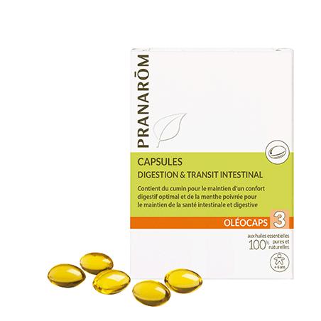 Oleocaps 3 - Digestion Transit Intestinal - 30 capsules - PHARMACIE VERTE - Herboristerie à Nantes depuis 1942 - Plantes en Vrac